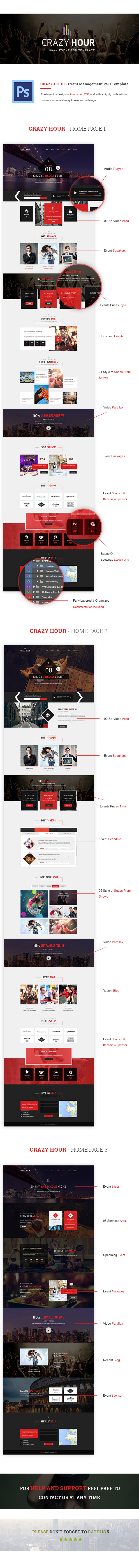 Crazy Hour - Event Management PSD Template